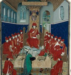 Charles le Téméraire présidant le chapitre de l'ordre de la Toison d'or (Histoire de l'ordre de la Toison d'or de Guillaume Fillastre, Dijon, BM, Ms. 2948, fol. vers 1473)