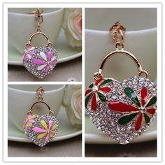 Crystal Heart Purse Handbag Key Chains Rings Bag Charms Pendant Gift Ysk231