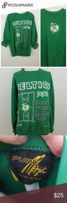 "Vintage Celtics Pullover Sweatshirt Awesome 90's green Celtics sweatshirt ! Great vintage condition.  Size large (most likely mens ) Sleeve length 33"" Armpit to armpit 24"" Length 26""  #oversized #sweatshirt #celtics #vintage #1990 #sizelarge #rachelboncek Vintage Tops Sweatshirts & Hoodies"