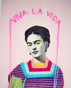 Frida Kahlo portrait x cm) The title of this work comes from her las painting called: Viva La Vida The. Art And Illustration, Inspiration Art, Art Inspo, Frida Kahlo Portraits, Art Du Collage, Pop Art, Frida Art, Mexican Art, Textile Artists