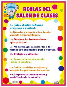 RULES OF THE CLASS POSTER in Spanish www.CarlexOnline.com