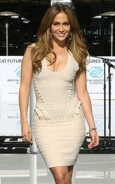 JLo always gorgeous in any dress especially in this Ruffled Bandage Dress