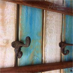 XL Rustic Wood Coat Rack Nautical Blue / OOAK by RiversideStudioON