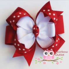 CLEARANCE Was 4.50 Red and White Polka Dots Loopy by HairbowOutlet