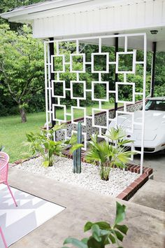 Outdoor Theater in Garden Source Use empty wine bottles in the garden Source DIY Mid century trellis Source Fern...