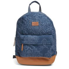 Women's Rip Curl 'Dakota Rose' Print Backpack With Faux Leather Trim (3.770 RUB) ❤ liked on Polyvore featuring bags, backpacks, navy, blue bag, rip curl backpacks, blue backpack, patterned backpacks and navy blue backpack