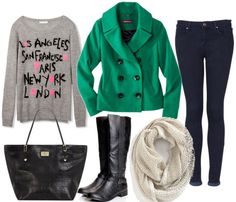 How to style an emerald coat with skinny jeans cream scarf black tote black riding boots and graphic sweater