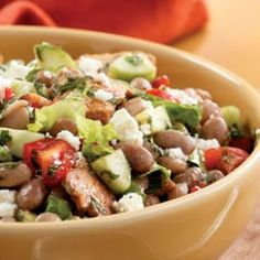 Toasted Pita & Bean Salad Recipe - sub Monterey Jack cheese for the feta, and parsley or basil for the mint