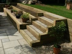 44 The Biggest Myth About Patio Garden Ideas Railway Sleepers Exposed 44 freeho. 44 The Biggest My Sloped Backyard, Sloped Garden, Backyard Landscaping, Terraced Landscaping, Landscaping Retaining Walls, Garden Stairs, Terrace Garden, Garden Bed, Railway Sleepers Garden
