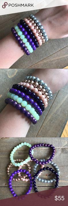 Handmade 7pc Stretch Bracelet Set Beautiful handmade 7pc glass stretch bracelet set, 6.5-7 inches. handmade Jewelry Bracelets