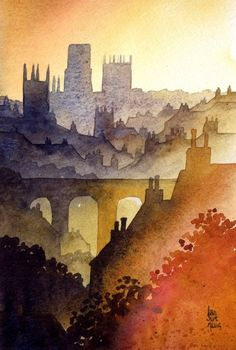 Durham from Western Hill by Ian Scott Massie www. - Durham from Western Hill by Ian Scott Massie www. Watercolor Landscape, Watercolour Painting, Landscape Art, Painting & Drawing, Landscape Paintings, Watercolours, Sketch Drawing, Watercolor Architecture, Watercolor Paintings
