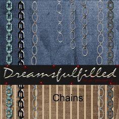 Dreamsfulfilled: Chains. Colección de cadenas de diferentes formas y colores.