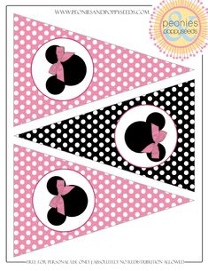 Minnie Mouse Pennant Banner Minnie Mouse Birthday Decorations, Minnie Mouse Decorations, Minnie Mouse Theme, Pink Minnie, Mickey Party, Mickey Mouse And Friends, Mickey Mouse Birthday, Mickey Minnie Mouse, Printable Birthday Banner