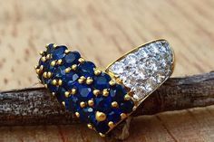 Diamond and Sapphire Ring by BFJewelryEst1984 on Etsy