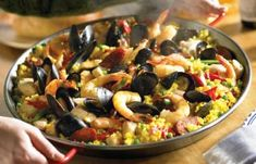 Read our recipe for Paella Mixta, classic Spanish dish. La Tienda offers the best of Spain shipped direct to your home - fine Spanish foods, cookware and more. Mixed Paella Recipe, Spanish Paella Recipe, Spanish Recipes, Seafood Dishes, Seafood Recipes, Cooking Recipes, Healthy Recipes, Spanish Dishes, Spanish Food
