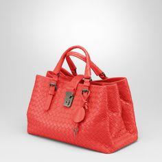 634126527411 Bottega Veneta New Red Intrecciato Light Calf Roma Bag