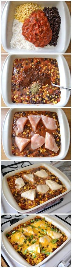 Salsa Chicken Casserole 1 cup uncooked rice 1 cup frozen corn kernels (thawed)  1 (15 oz.) can black beans  1 (16 oz.) jar salsa 1 cup chicken broth ½ Tbsp chili powder ½ tsp oregano 2 large (1.5 lbs.) chicken breasts 1 cup shredded cheddar cheese 2 whole green onions, sliced