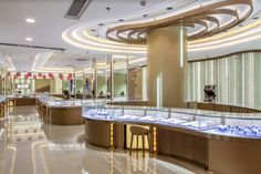 Golden Fortune Diamond Gallery by Shangyuan Art Design Shenzhen China Jewelry Store Displays, Jewellery Display, Jewellery Shop Design, Jewelry Shop, Jewelry Stores, Jewellery Showroom, Furniture Store Display, Diamond Shop, Shop Fittings