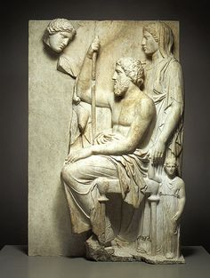 Grave stele with a family group, ca. 360 B.C.  Greek, Attic  Pentelic marble
