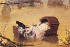 A flood - Millais John Everett Date: 1870 Style: Romanticism Genre: genre painting