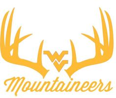 West Virginia Mountaineers Deer Hunting  Antler Window Decal  9 x 11.5  Truck VA  Choose from 4 different colors or Realtree Extra Green.