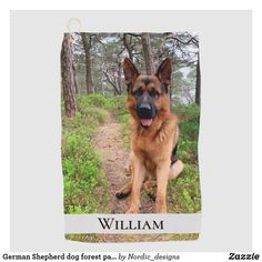 Shop German Shepherd dog forest path name Golf Towel created by Nordic_designs. Forest Path, Pine Forest, Golf Towels, Nordic Design, Dog Bowtie, German Shepherd Dogs, Dog Walking, You Are The Father, Boyfriend Gifts