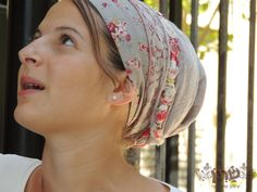 Charming Flower Tichel For Special Occasions,Hair Snood, Head Scarf,Head Covering,jewish headcovering,Scarf,Bandana,apron