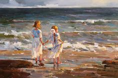 Dipinti: Alla costa in ToucanArt.com                                                   Bambini nella spiaggia