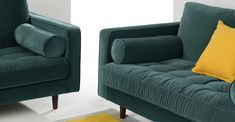 Scott 3-Sitzer Sofa, Samt in Petrolgrün   MADE.com Sofa Design, Flat Ideas, Cotton Velvet, Bleu Marine, Mid Century Design, Daybed, Love Seat, Sweet Home, Cushions