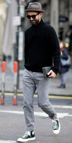 casual black sweater look
