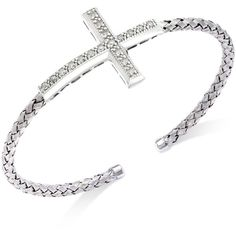 Diamond Cross Braided Cuff Bracelet in Sterling Silver (1/5 ct. t.w.) ($210) ❤ liked on Polyvore featuring jewelry, bracelets, accessories, no color, diamond bangles, cuff bracelet, cross bangle, cross jewelry and diamond jewelry