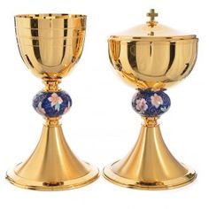 Chalice and ciborium in brass with enamelled pommel | online sales on HOLYART.co.uk