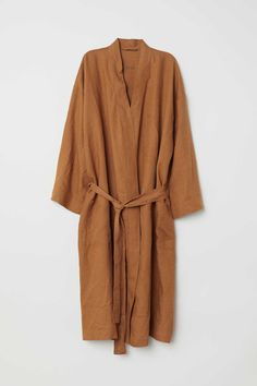 Washed linen dressing gown - Ocre - HOME Dress For Summer, Easy Style, Unisex, Mode Plus, Minimal Fashion, Mode Style, Fashion Company, Linen Fabric, Bed Linen