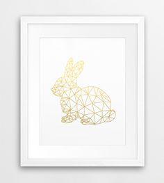 Geometric Rabbit, Origami Print, Geometric Animal Wall Art, Bunny Rabbit Gold Foil, Woodlands Animal, Modern, Nursery Decor, Printable Art by synplus on Etsy https://www.etsy.com/listing/489088139/geometric-rabbit-origami-print-geometric