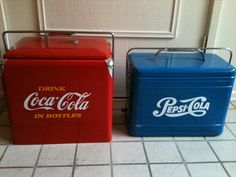 Coke and pepsi coolers vintage, I luv my coke so I would have to find someone with no taste & give them the Pepsi cooler..lol