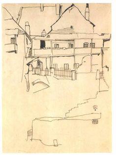 Study for The house with wooden roof Studie zum Bild Haus mit Schindeldach Egon Schiele 1914