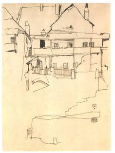 Study for The house with wooden roof  Studie zum Bild Haus mit Schindeldach  Egon Schiele  1914