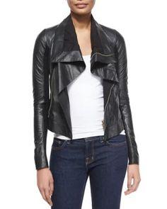 W06Q4 Rick Owens Shawl-Collar Leather Biker Jacket