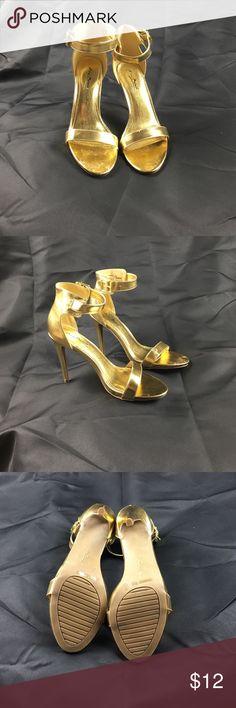 Anne Michelle Gold Ankle Strip Heels Very fun pair of high heels. Good as gold. Anne Michelle Shoes Heels