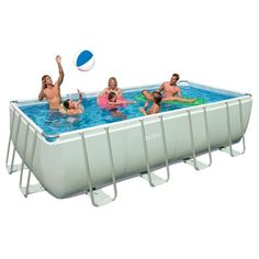 Intex 18ft X 9ft X 52in Rectangular Ultra Frame Pool Set with Sand Filter Pump
