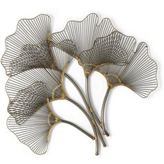 Ginkgo Leaves Metal Wall Art ($99) ❤ liked on Polyvore featuring home, home decor, wall art, flowers, decor, plants, art, backgrounds, filler and detail