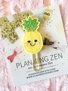 Kawaii Pineapple Felt Planner Clip  Paperclip Page by PlanningZen
