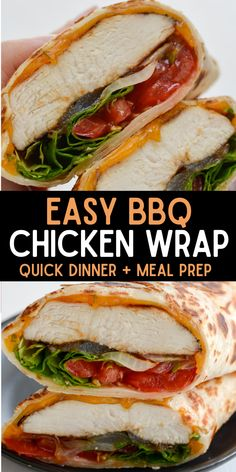 This warm tortilla wrap stuffed to the brim with tender BBQ chicken, sharp cheddar cheese, grilled onions, tomatoes and fresh lettuce is the perfect lunch on the go option! #wrap #chicken #lunch Yummy Chicken Recipes, Quick Dinner Recipes, Wrap Recipes, Lunch Recipes, Sandwich Recipes, Turkey Recipes, Yummy Recipes, Cookie Recipes, Vegan Recipes