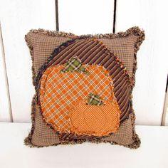 Handmade Ragged Homespun Plaid Pumpkin Pillow - Jubilee Homespun Fabric