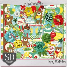 Happy Birthday - digital scrapbooking kit from Shmooangel Designs. Fill the balloons and toss the confetti, it's time for a birthday celebration! This great kit is perfect for capturing all the joy and excitement of all your birthday celebrations. This colorful kit will make your layouts pop.