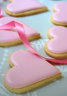 Pink heart biscuits