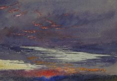 John Ruskin (1819-1900),Study of Dawn: Purple Clouds,March 1868.Watercolour and bodycolour over faint graphite lines on blue-grey paper.