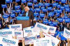 Senator Bernie Sanders cheers as he takes the podium at the Manassas Fairgrounds, Sept. 14.