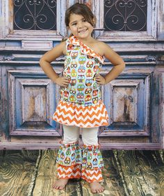 Look at this Orange & Blue Owl Ruffle Top & Pants - Toddler & Girls on #zulily today!