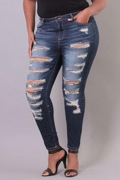 Plus Size Stretch Destroyed Skinny Jean | Medium Wash